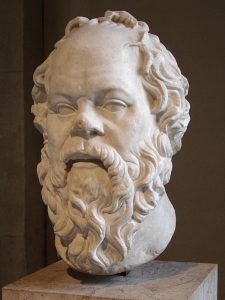 Sokrates (470-399 f. Kr) - Portrait of Socrates made in Marble, Roman artwork (1st century), perhaps a copy of a lost bronze statue made by the Greek Lysippos. Photographed by Eric Gaba at the Louvren museum of art in Paris.