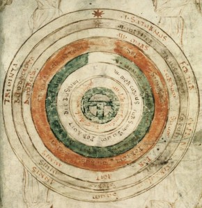 Planetary circles with earth in the center. From between 1055 and 1074 AC. (The Bodleian Libraries, Oxford)